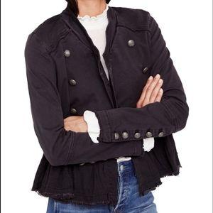 FREE PEOPLE Ruffle Hem Military Jacket Size XS